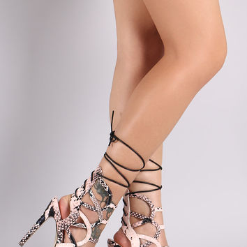 Python Caged Back Lace-Up Stiletto Heel