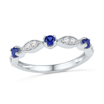 Lab-Created Blue and White Sapphire Ring in Sterling Silver - Save on Select Styles - Zales