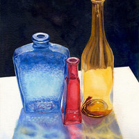 Glass Bottles Original Watercolor Painting by Cathy Hillegas, 12x16, red, blue, yellow, white, black, watercolor still life, realism, light