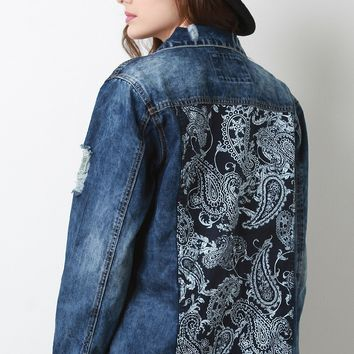 Paisley Back Patch Distressed Denim Jacket