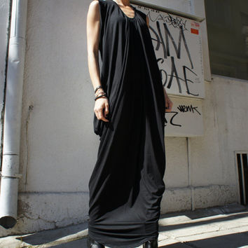 Black Kaftan / Maxi Black Dress / Asymmetrical Tunic A03004