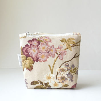 Beige Floral Cotton Coin Purse