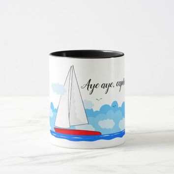 Hot beverages mug - Aye aye, captain sailboat