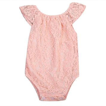 Newborn Baby Girl Jumpsuit Toddler Infant Pink Lace Outfit Romper One-Pieces Sunsuit Clothes 0-24M