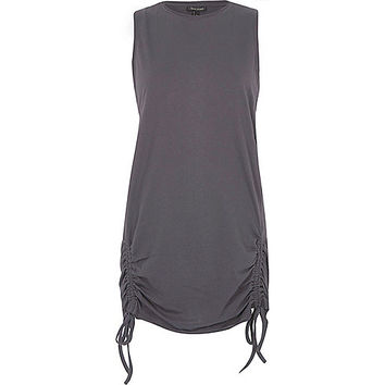 Dark grey ruched side longline tank top