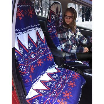Seat Hoody: Post-workout Car and Truck Seat Cover Protector. Universal Fit, Machine Washable, Grippy Nonslip Backing Technology. All Workout, All-Weather Seat Protection - Nordic Flurry