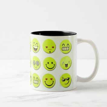 Emoji set happy smile faces cartoon artwork yellow Two-Tone coffee mug