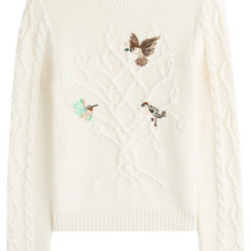 Cotton Cable Knit Pullover with Embroidered Birds - RED Valentino | WOMEN | US STYLEBOP.COM