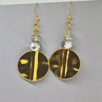 Gold Disc Earrings, Big Gold Dangle Earrings, Big Circle Statement Earrings, Gold Statement Earrings, Gold Disc Drop Earrings, Gold Drops