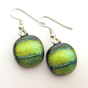 Golden Horizon Dichroic Drop Glass Earrings 1154 by mysassyglass