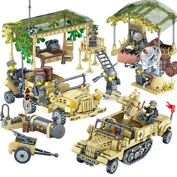 Military World War 2 SWAT Germany Car Plane Helicopter Tank Truck Building Blocks Figures Army Bricks Toy Compatible with Lego