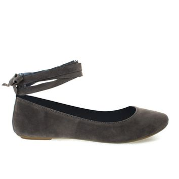 Chantel41S Taupe By Bamboo, Ballet Ballerina Round Toe Flats w Leg Wrap Laces. Women Shoes