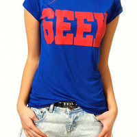 GEEK Graphic Print Blue Short Sleeve T-Shirt
