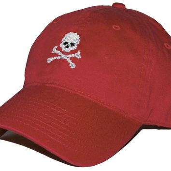 Jolly Roger Needlepoint Hat in Rust by Smathers & Branson
