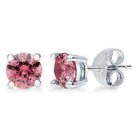 Sterling Silver with Round Pink Swarovski Zirconia Solitaire EarringsBe the first to write a reviewSKU# E1054-SW04-6