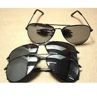 Aviator Sunglasses Black Frame Mirror Lens 3 pack with pouch:Amazon:Shoes