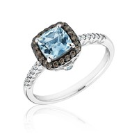 Aquamarine, Champagne Diamond and Diamond Ring 1/5ctw