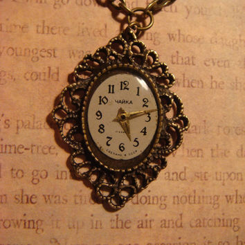 Victorian Stye Steampunk Necklace with a Watch Face Set in Ice Resin - Antique Bronze