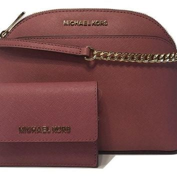 ONETOW MICHAEL Michael Kors Emmy MD Crossbody bundle with Michael Kors Jet Set Travel Card Case ID Key Holder Wallet