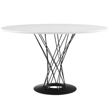 White Cyclone Wood Top Dining Table