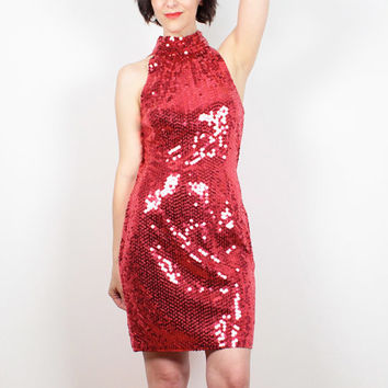 Vintage 80s Party Dress Red Sequin Dress Backless Dress 1980s Prom Dress Mini Dress Bodycon Glam Sequined Trophy Dress Mod Small S M Medium