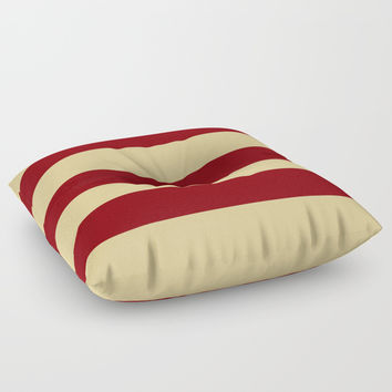 Tan and Red Stripes Floor Pillow by 11penguingirl