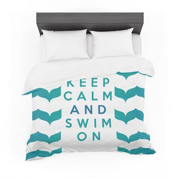 "Nick Atkinson ""Keep Calm and Swim On"" Teal White Cotton Duvet"