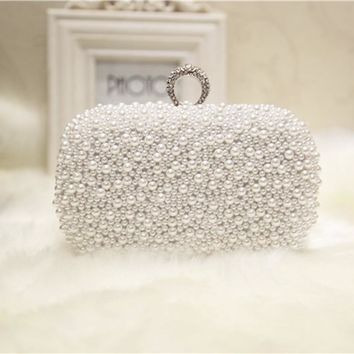 Women Full Pearl Clutch Knuckle Rings Party Evening Bag Ladies Wedding Bride Fashion Wallet Day Clutches Makeup Crossbody Bag