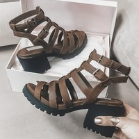 Monica Distressed Whiskey Heeled Sandals