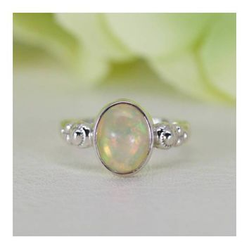 Sterling Silver Natural Ethiopian Welo Opal Solitaire Bezel Ring