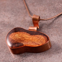 Peanut Shell Copper Necklace with Resin on 18 inches Copper Chain
