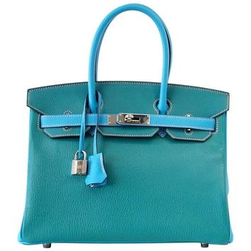 Hermes Birkin 30 Bag HSS Blue Aztec and Paon Chevre Palladium