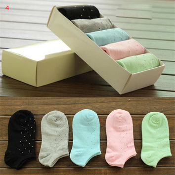 Womens Girls Fashion Comfortable Casual Sports Dots Ankle Socks Hight Quality Best Gift (5 PCS) Socks-29