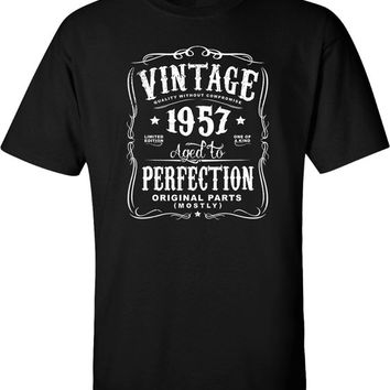 60th in 2017 Birthday Gift For Men and Women - Vintage 1957 Aged To Perfection Mostly Original Parts T-shirt Gift idea.  N-1957