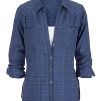 Blue Plaid Button Down Shirt - Blue Jasmine Combo