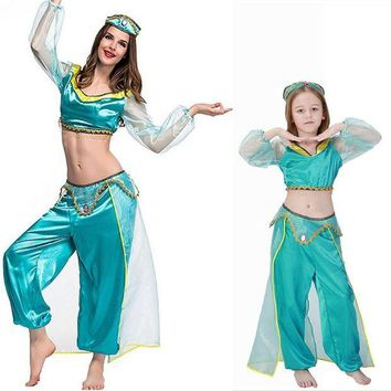 VONE05O Adult women halloween party cosplay kid children girl princess jasmine costume Aladdin's lamp clothes clothing