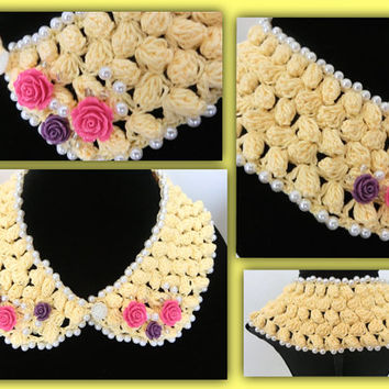 Crochet Collar Necklace Floral Detached Collar Necklace Floral Crochet Necklace Yellow Collar Gift for Her,