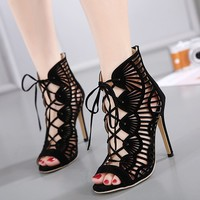 Fashion Casual Hollow Crisscross Bandage Zip Exposed Toe Boots Women Heels Shoes Sandals