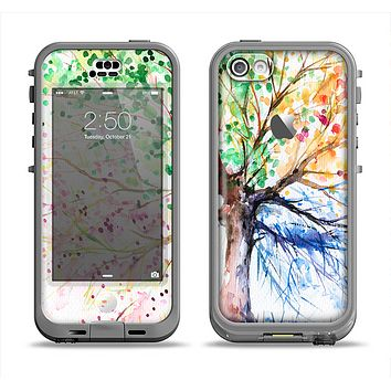 The WaterColor Vivid Tree Apple iPhone 5c LifeProof Nuud Case Skin Set