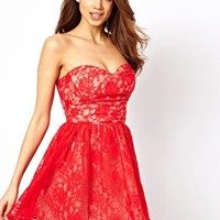 Elise Ryan Bandeau Skater Dress in Lace at asos.com