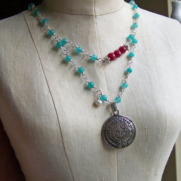 Etsy, Etsy Jewelry, Beaded Necklace, Blue Quartz Necklace, Linked Necklace, Mayan Calendar Necklace, Cherry Jade, Red Jade, Aztec Necklace