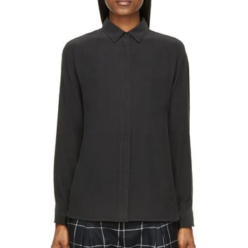 Rag And Bone Black Matte Silke Tux Shirt