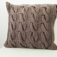 Brown cable knit pillow cover, brown pillow case, handmade decorative pillow, knitted pillow, home decor, brown home interior
