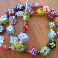 Colorful Murano glass beads flower design 15-1/2 inch strand