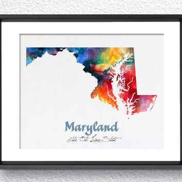 Maryland State Map USA, Watercolor Print, Art Print, Wall Art Poster, Wall Decor, Art Home Decor, Wall Hanging Item 186