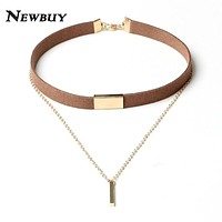 NEWBUY 2017 New Black Velvet Choker Necklace Gold-color Chain Chokers Chocker Necklace For Women Collares Mujer Collier Female