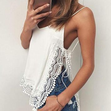 Sexy V neck Open Back Lace Top