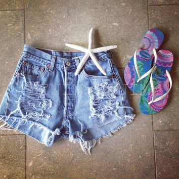 High Waisted Denim Shorts Levis Distressed Shorts Low Rise Vintage Wrangler Shorts Ripped