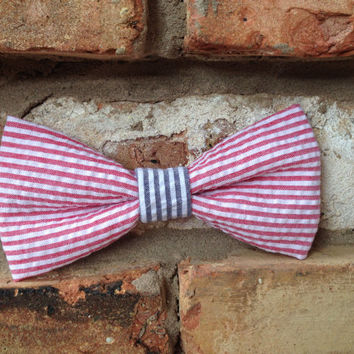 """5.5"""" Red and Blue American Seersucker Hair Bow or Bow Tie"""