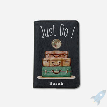 Just go passport holder personalized passport cover passport holder leather passport wallet passport case by wanderlustcover shop